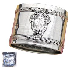 """Antique French Sterling Silver Napkin Ring, Classical Style Floral Decoration, Raised Medallion, """"JM"""" Monogram"""