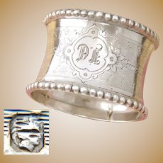 "Antique French Sterling Silver Napkin Ring, Convex with Guilloche Decoration, ""DF"" Monogram"