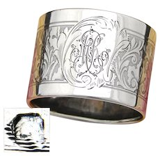"Antique French Sterling Silver Napkin Ring, Neo-Renaissance Decoration, ""MR"" Monogram"