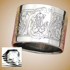 "Antique French Sterling Silver Napkin Ring, Neo-Renaissance Decoration, ""MR"" Monogram"