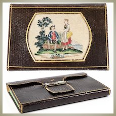 Antique Victorian Era Wallet Notebook, Needlework, Embroidery Panel in Leather, c.1858