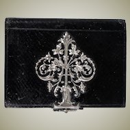 Charming Antique French Black Leather Souvenir Notebook, Aide d'Memoire, Ornate Clasp