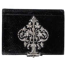Charming Antique French Black Leather Souvenir Notebook, Aide d'Memoire, Ornate Clasp