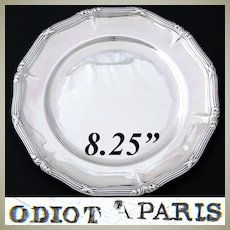 """Fine Antique French ODIOT Sterling Silver 8.25"""" Plate, Wine or Champagne Coaster, 347gm"""