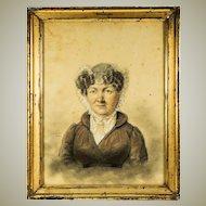 Antique Sketch & Pastel Portrait in Frame, Artist Signed (School of Ingres) c.1824. ID'd Sitter