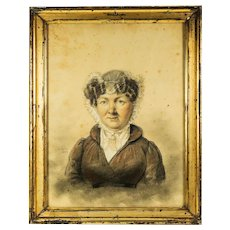 Antique Sketch & Pastel Portrait in Frame, Artist Signed (School of Ingres) c.1824. ID'd Sitter