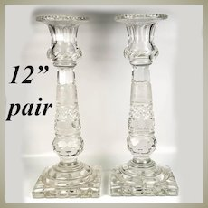 "Fine Antique Pair (2) Bohemian Wheel Cut Glass 12"" Candlesticks, Stag, Deer, Black Forest Interest"