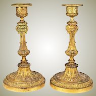 "Antique 19th Century French Candlestick Pair, (2) Dore Finish, Bobeche, Set, 7.5"" Tall"