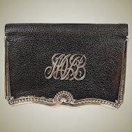 Elegant Antique Gorham Sterling Silver & Leather Wallet, Coin Purse, MVB Monogram