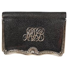 Elegant Antique Gorham Sterling Silver & Leather Wallet, Coin Purse, MVB Monogram