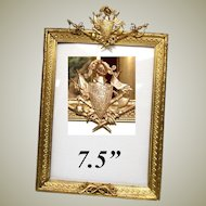 """Fab Antique French Dore Gilt Bronze 7.5"""" Picture Frame, Armorial with Knight's Helmet, Swords +"""