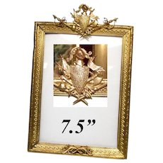 "Fab Antique French Dore Gilt Bronze 7.5"" Picture Frame, Armorial with Knight's Helmet, Swords +"