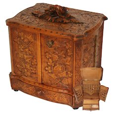 Gorgeous Antique Black Forest Desk Cigar Cabinet, Chest, Box, Presentation Server - not Humidor
