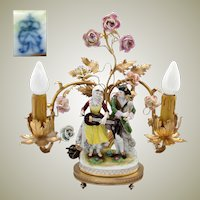 Lovely Antique Gilt Bronze 2-Branch Boudoir Lamp, Porcelain Flowers & Dresden Figures