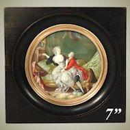 Fabulous Large Antique French Marie Antoinette Era Miniature Painting, Romantic Interior Scene