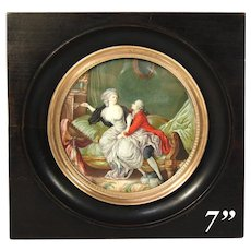 Fabulous Large Antique French Marie Antoinette Era Miniature Painting, Romantic Interior Scene