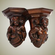 """Gorgeous Antique French Breton Style Carved Solid Walnut 9.5"""" Wall or Bracket Shelf PAIR, Figural"""