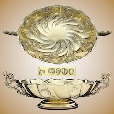 "Exquisite Antique English 14k Gold on Sterling Silver 15.25"" Centerpiece, Figural Fruit or Bread Bowl"