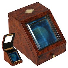 Elegant Antique French Napoleon III Era Burled Pocket Watch Display Box, Casket