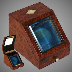 Elegant Antique French Napoleon III Era Burled Pocket Watch Display Box, Casket