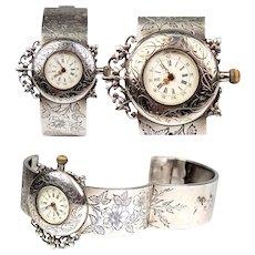 Antique French Sterling Silver Mount, Bracelet Wristwatch, Watch, c. 1880s, Works