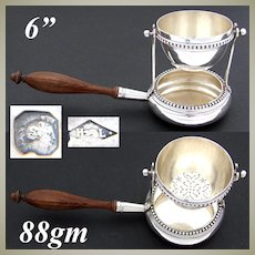 Elegant Antique French Sterling Silver Tea Strainer with Drip Cup, Bead Festooned
