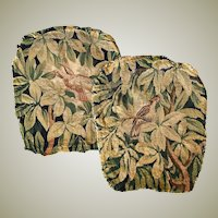 Fabulous 18th c. French Aubusson Chair Back Panels, Birds , Fragment for Pillows, c.1700s, EC