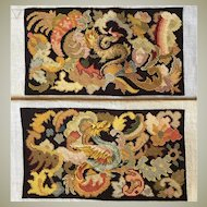 Superb 19th c. Unused French Needlepoint Panels, Figural Chimera or Dragons for Pillows