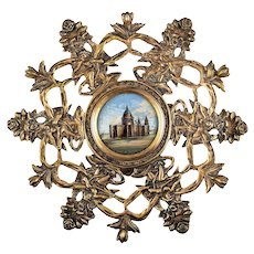 Antique French Eglomise Souvenir Raised Platter, Tazza, St. Paul's Cathedral, London