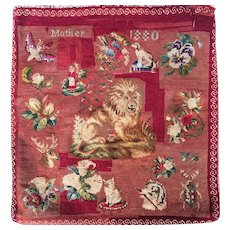 Antique Victorian Sampler Tapestry Needlepoint, Lion, Dog, Cat, Etc., c.1880, Pillow