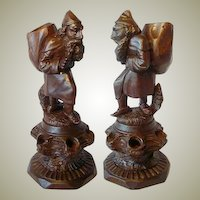 Superb 19c Black Forest Figural Cigar Caddy/Carousel