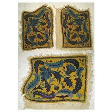 Antique French Needlepoint Panel Pair, 1850s Fragments for Pillows