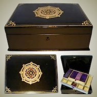Fine Antique 19c Victorian Era French or English Papier Mache Sewing Box or Casket