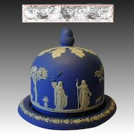 Rare Antique 19c Wedgwood Jasperware Cheese Dome with Original Platter, Plate