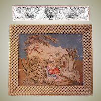"""Superb 19th C. Figural Needlepoint Tapestry, 21.5"""" x 18.5"""" Gilt Gesso & Wood Frame"""