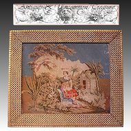 "Superb 19th C. Figural Needlepoint Tapestry, 21.5"" x 18.5"" Gilt Gesso & Wood Frame"
