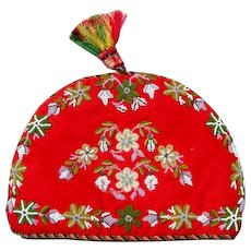 Fun Victorian Beadwork Chenille Embroidery Tea Cozy - Christmas Colors!