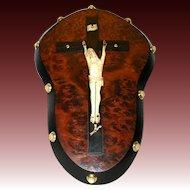 Fine Antique Victorian Era Carved Bone Jansenite Christ Figure, Burled Plaque