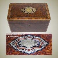 "Fab Large Antique Napoleon III Era Burled 10"" Tea or Desk Box, CK Monogram"