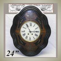 "Antique French Marquetry Boulle Inlay 24"" Parlor Clock"
