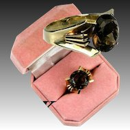 Beautiful Vintage Large Smoky Topaz, 18K Yellow Gold Ring, USA Size 6