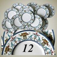 Superb Set of 12 Vintage MINTON Dinner Plates, c. 1923, Florentine Style Pattern