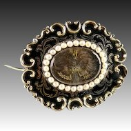 Early Victorian 12K Mourning Brooch, Antique Seed Pearls, Enamel & Hair Art