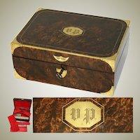 Museum Antique Napoleonic Era Campaign Dressing Box, Casket, Rich Burl & Brass