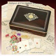 "Elegant Antique French Napoleon III Era 12"" Rosewood Game Box, Boulle Style Inlays"