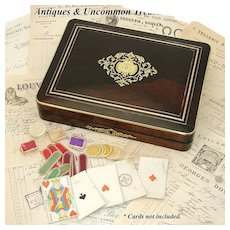 "Elegant Antique French Napoleon III Era 12"" Rosewood Game Box, Boulle Style Inlays"