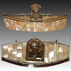Antique Victorian Era Mother of Pearl Parquet Boat Shaped Inkwell or Inkstand