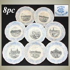 """FABU 8pc Antique Antique World Expo 8"""" Cabinet Plate Set, Paris 1900, Terre de Fer"""