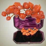 Antique Empire Georgian Red Coral Tiara, Necklace, Bracelet 18k Gold