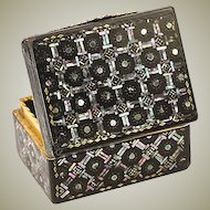 Superb Antique 1700s Boite a' Mouche, Mother of Pearl, Tortoise Shell & 12K Gold Box